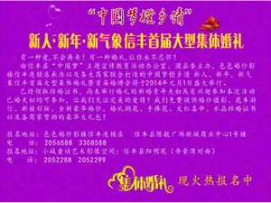 """""""新人、新年、新气象""""信丰首届大型集体婚礼暨首届婚博会"""