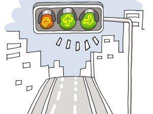 右转车辆,请为行人让行