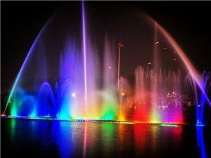 清苑公园音乐喷泉夜景