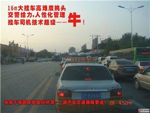 16米大挂车锦葫路双桥洞挑头,交警给力,司机超牛