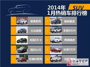 2014年1月国内热销SUV/轿车/MPV排行榜