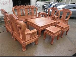 【宝鼎红木】缅甸花梨木原色生磨素磨战国大象款沙发12公分10