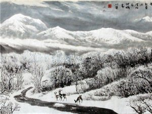 秦川牛山水画