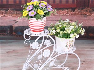 雅美包邮欧式室内外立式双盆铁艺花架阳台花盆架多色植物架