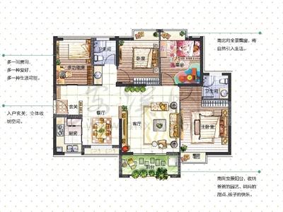 成长系列1:4房2厅2卫2阳台(约120-125�O)