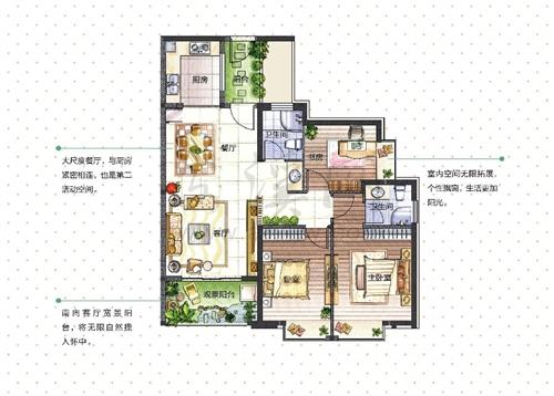 成长系列2:3房2厅2卫2阳台(109-114�O)