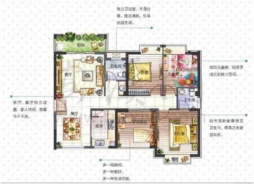 成长系列3:4房2厅2卫2阳台(约120-125�O)