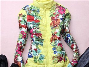 秋冬新款羽绒服女印花立领拉链短款保暖羽绒服