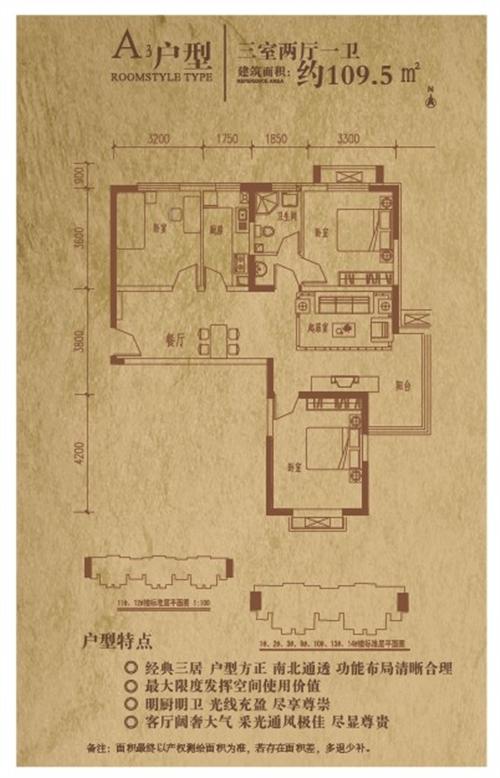 A3户型 三室两厅一卫 约109.5㎡