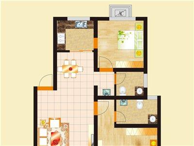 杞县新城b2户型二室二厅二卫94.55平方米
