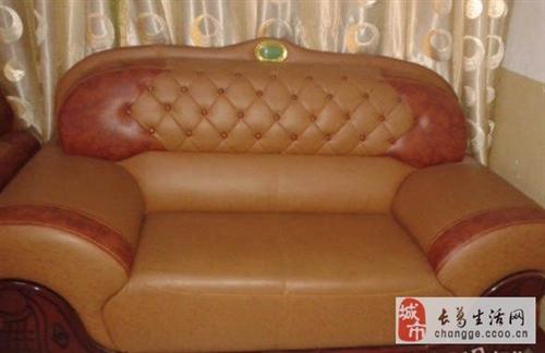 超漂亮真皮镶玉沙发一组-800元