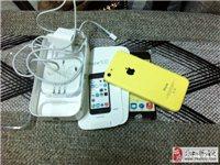 全新刚买iphone 5C,黄色,耳机未使用!