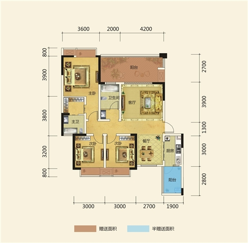三房两厅双卫双阳台