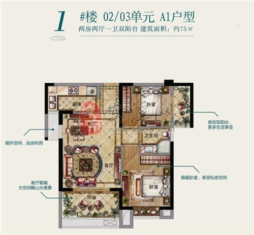 二期A1户型:两房两厅一卫双阳台(建筑面积:约75�O)