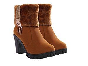 冬季欧美韩版粗高跟中筒靴保暖毛毛女短靴